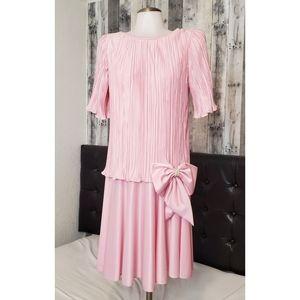 80's Vintage  Pink Drop Waist Cocktail Dress